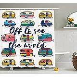 Camper Vorhang für die Dusche von yeuss, Off die Welt inspirierendes Zitat auf Mini Wohnwagen Hintergrund zu sehen Vintage Trip Bild, Stoff Badezimmer Decor Set mit Haken, Multi 152,4x 182,9cm, Polyester, mehrfarbig, 60