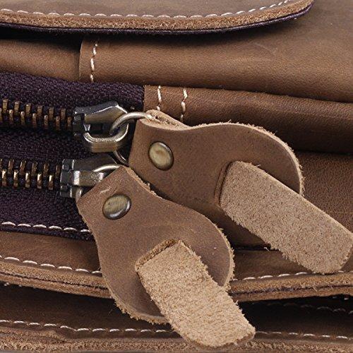 FZHLY Retro-Leder-beiläufige Männer Brust-Tasche,Brown LightBrown