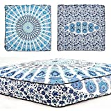 Indian Peacock Mandala Floor Cushion Throw Decorative Mandala Floor Pillow Vintage Cotton Pouf Ottoman Handmade Sofa Seat Cover ( White Color)