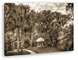 Pavillon in bezaubernder Landschaft in Florida Format: 60x40 Effekt: Sepia als Leinwandbild, Motiv fertig gerahmt auf Echtholzrahmen, Hochwertiger Digitaldruck mit Rahmen, Kein Poster oder Plakat