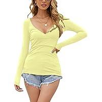 ZANZEA Maglia Donna Manica Lunga Maglia Sexy Scollo a v Maglie Cotone Maglietta Maniche Lunghe Basic Top da Donna