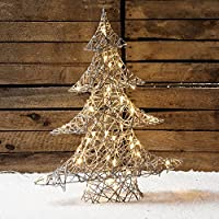 Regular Grey Wicker Light Up LED Christmas Tree (Indoor/Outdoor)