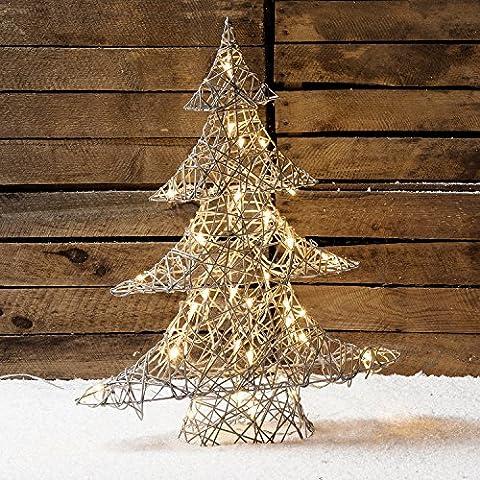 Sapin de Noël Lumineux en Osier Gris à LED Blanc Chaud pour Intérieur ou Extérieur, 60cm par Lights4fun