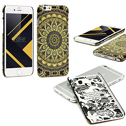Urcover® Apple iPhone 6 / 6s Schutzhülle mit Mandal-Design in Hell Blau Colorful Mandala Backcase Cover Smartphone Zubehör TPU Schale Schwarz