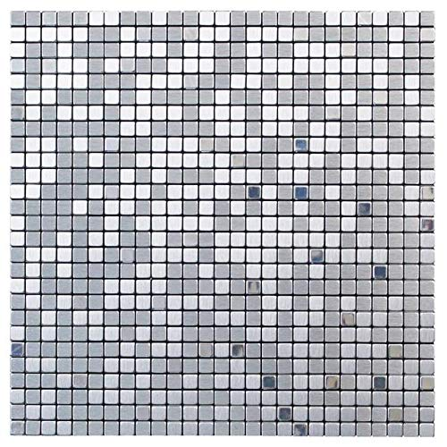Create Your World Self Adhesive Mosaic Tile Silver 29cm x 29cm x 0.4cm (One sheet)