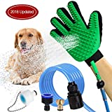 HLZDH Pet Grooming Glove, [Upgraded Version],Pet Bathing Tool, Gentle Deshedding Brush Glove -Pet Shower Sprayer Grooming Glove with 3 Faucet Adapters for Dog Cat Horse