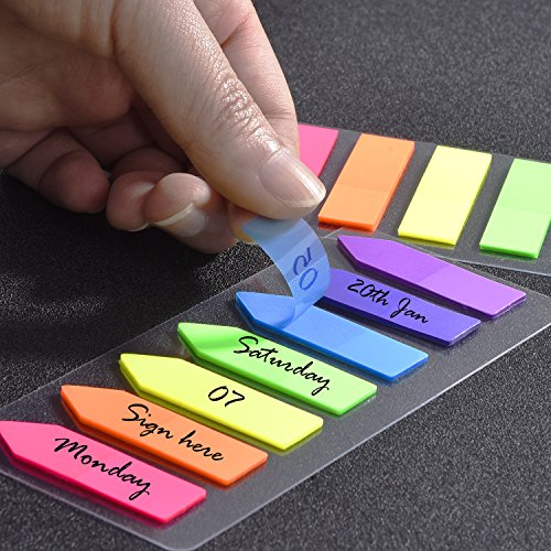 1400 Piezas Índices Adhesivos Notas Adhesivas de Colores Etiquetas de Escribir para Marcador de Página, 10 Set, 7 Colores