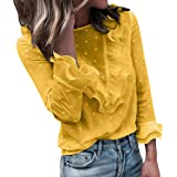 Xmiral Top Camicetta Donna Casual Pizzo A Pois T-Shirt Manica Lunga