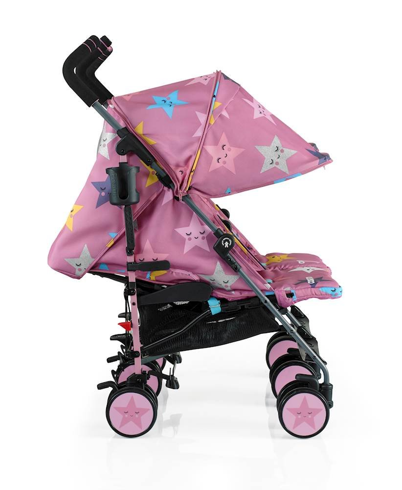 Cosatto Supa Dupa Double/Twin Stroller, Suitable from Birth, Happy Stars Cosatto Supa dupa is a compact from-birth double stroller. it's lightweight but sturdy. the stowaway autostand makes it great for home or car storage. With upf50+ extendable hoods, raincover and fleece-lined footmuffs, supa dupa's in charge, rain or shine.  the handy compact fold means you can hop on and off transport. Each seat has its own recline - so whatever their age, whatever their stage, whatever their mood that day, they're happy. 3