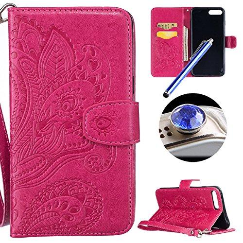 Etsue Brieftasche Hülle für iPhone 7 Plus (5.5 Zoll) 2016 Flip Case Lederhülle Ledertasche Handyhülle im Bookstyle, Retro Vintage Flip Wallet Cover Handy Tasche Case Schutz Hülle Tasche Magnetverschlu Mandala Floral,Hot Pink