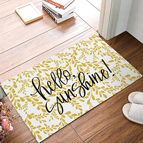 Vercxy Fußmatte Eingang Teppich Boden Innen-Küche Boden Badezimmer Fußmatte mit Rutschfeste Unterseite Hello Sunshine-Gelb Floral Blätter Hintergrund 59,9x 39,9cm