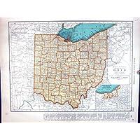 Bordo Mcnally Ohio Cleveland Oklahoma Delaware della Mappa 1936 dell'Oggetto D'antiquariato di