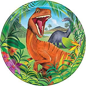 Unique Party- Platos de Papel Fiesta de Dinosaurios, 8 Unidades, Multicolor (58315)