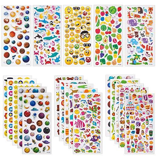 SAVITA 3D Aufkleber für Kinder & Kleinkinder 1200+ Geschwollen Stickers Niedliche Verschiedene Set Buchstab en Tier, Obst, Planeten, Gesichtsausdrücke, Kuchen, Deep Sea Life,20 Bogen