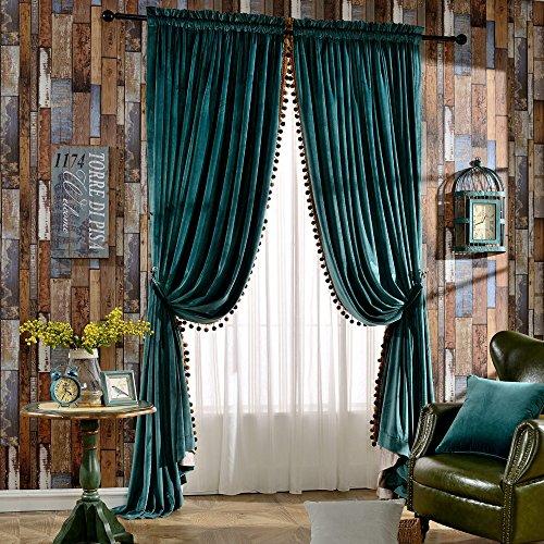 Melodieux Pom Pom Samt Isoliert Rod Pocket Vorhänge für Schlafzimmer W52 x L84 grün - Rod Vorhang Grüne