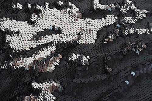 styleBREAKER borsa sportiva hipster con paillettes, zaino, borsa sportiva, bauletto, unisex 02012210, colore:Argento/ Nero Mezzanotte-blu/argento