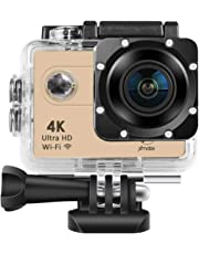 Xmate Shot Pro 16 Mega Pixel, 4K WiFi Sports Waterproof Casing Action Video Camera with 2.4G Remote Control & Accessories Kit, 1050mAh Rechargeable Battery, Micro SD Card Support Up to 32G (Gold)