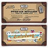 Einladungskarten zum Geburtstag (20 Stück) als Reisekoffer im Alt Leder Vintage Look Karte