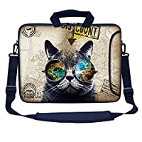 "Meffort Inc 15 15.6 inch Neoprene Laptop Bag Sleeve with Extra Side Pocket, Soft Carrying Handle & Removable Shoulder Strap for 14"" to 15.6"" Size Notebook Computer - Cool Cat"