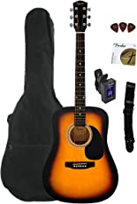 Fender Squier S1422065 Acoustic Guitar, Sunburst, with Gig Bag, Tuner, Strap, Stand and Picks