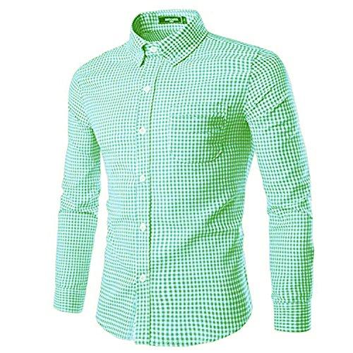 Nutexrol Trachten Herren Hemd Trachtenhemd Langarmhemd Freizeithemd Baumwolle - für Oktoberfest, Business, Freizeit Grün XL