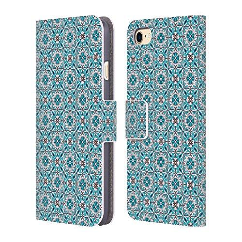 Offizielle Iuliia Lelekova Marokkanische Fliese Muster Brieftasche Handyhülle aus Leder für Apple iPhone 6 / 6s Blumige Portugiesisch