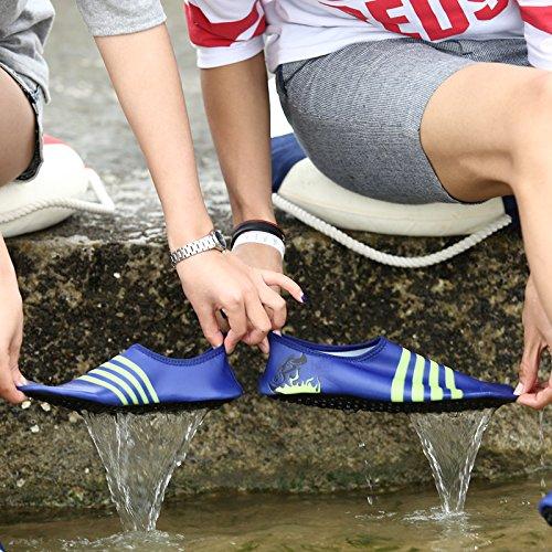 SUNAVY Unisex Barfuß Wasser Strandschuhe Aquaschuhe Breathable Schlüpfen Schnell Trocknend Schwimmschuhe Surfschuhe Yogaschuhe Fitnessschuhe (EU 34—EU 43) Tiefblau