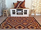 Second Nature Fair Trade Alwar Geometrische Wolle Kelim Teppich–braun rot orange 180cm x 270cm