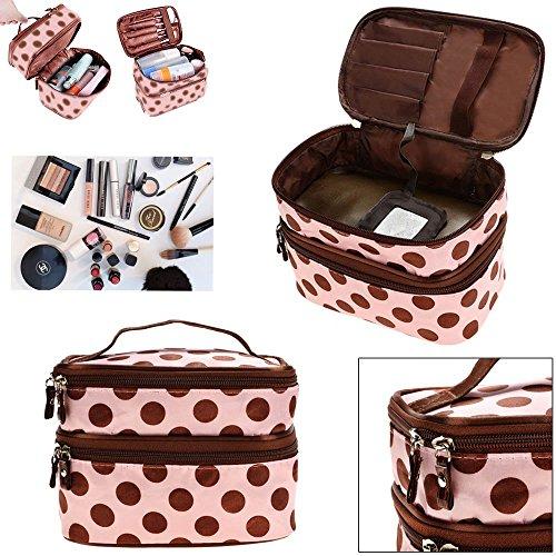 JJONLINESTORE-Cover doppio strato Zip Polka Dots pattern trucco cosmetici Toiletries Multi funzionale portatile borsa con cerniera viaggio Organizer Bag