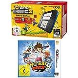 Nintendo 2DS - Konsole (schwarz) inkl. New Super Mario Bros. 2 (vorinstalliert) + YO-KAI WATCH