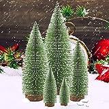 Mini Weihnachtsbaum Miniatur Kiefer Weihnachtsbäume Desktop Schnee Frost Bäume Flaschenbürste Bäume Kunststoff Winter Schnee Ornamente Tischplatte Bäume DIY Room Decor Home Tischdeko Modelle 5 Stück