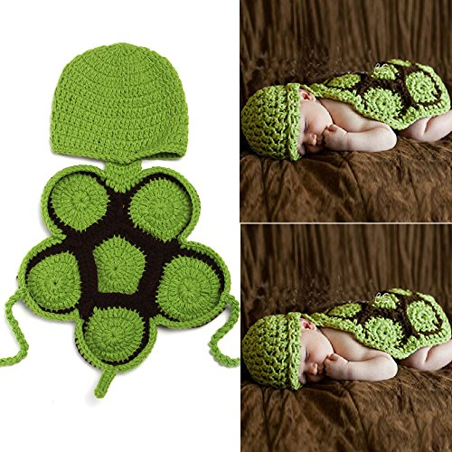 Kleinen Kostüm Grünen Schildkröte - sunfire Karton Schildkröte Crochet Knit Kostüm Fotografie Prop Outfits Baby Junge Mädchen Kleidung Schildkröte grün