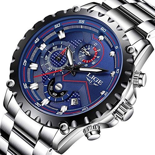 Herren Uhren Fashion Sport Wasserdicht Analog Quarzuhr Chronograph LIGE Luxusmarke Herren Edelstahl Klassisch Blau Geschenk Armbanduhr