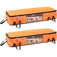 Prettykrafts Long Underbed Storage Bag, Storage Organizer, Blanket Cover with Side Handles (Set of 2 pcs) - Orange