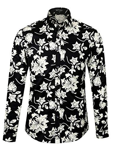 APTRO Männer Baumwolle Hemd Ferien Art-langärmliges Urlaub Schwarz Blumen  Schwarz Hemd 1107 M 2bdec89fbb