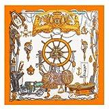 AHUIOPL 100% Seide Frauen Große Schals Stolen Kriegsschiff Drucken Quadrat Schals Echarpes Foulards Femme Wrap s 130 * 130 cm, Orange