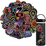 Waterproof Vinyl Stickers Pack for Laptop Water Bottle Party Supplies(50Pcs Neon Style)