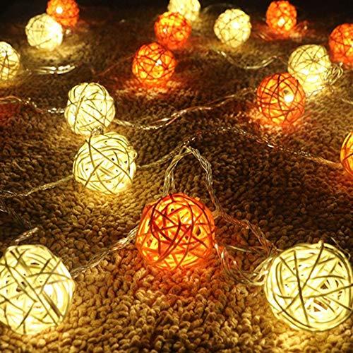 MERRYHE 3 M 20 Lampen Rattan Lichter LED Rattan Licht Sepak Ball Lichterketten Laterne Nachtlichter Fairy String Seil Lichter Weihnachtsferien Dekoration,Orange-20LEDs -