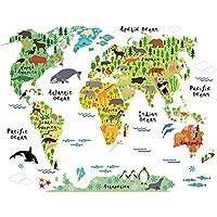 Mappa del mondo per bambini adesivi murali animali per bambini Camera da letto Camera dei bambini Sfondo Decor Sticker rimovibile decalcomanie