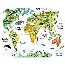 Winhappyhome Animali Mappa Rimovibile Adesivi Da Muro Per Stanza Dei Bambini Asilo Nido Sfondo Removibile Arredamento