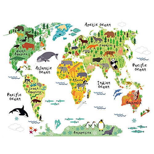 Wallpaper childrens bedroom amazon winhappyhome animal world map kids wall stickers for children bedroom living room nursery background sticker decor removable decals gumiabroncs Images
