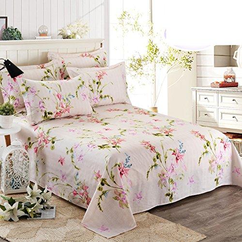 Lenzuola di cotone con stampa floreale giardino/Lenzuola matrimoniale cotone singolo-P 120x230cm(47x91inch)