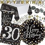45-teiliges Partyset * SPARKLING CELEBRATION * für den 30. Geburtstag // mit Teller + Becher + Servietten + Tischdecke + Konfetti + Girlande // Party Set Mottoparty Motto dreißig