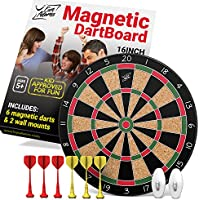 Fun Adams 16 inch Magnetic Dartboard with Safe Precision Darts, Best Kids Birthday Present for Boys & Girls, Great Classic Game the Whole Family can Enjoy - Play in Teams or Solo, Simple & Easy