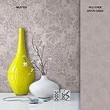 NEWROOM Tapete Grau Ornament Barock Vliestapete Metallic Vlies moderne Design Optik Barocktapete Wohnzimmer Glamour inkl. Tapezier Ratgeber