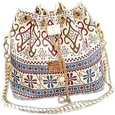 DELEY Mujer Étnicos Cadena Lazo Paño Bolsa De Cubo Bolso De Hombro Bucket Bag