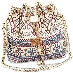 DELEY Mujer Étnicos Cadena Lazo Paño Bolsa De Cubo Bolso De Hombro Bucket Bag Blanco