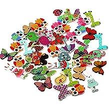Kanggest 50pcs Botones de Madera Manualidades Colores Animales dos Agujeros Costura de madera DIY Scrapbooking Bricolaje Artesanía