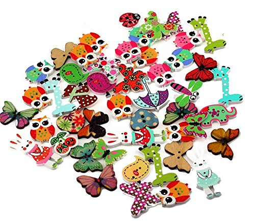 mackur 50 Holz Knöpfe Button Cartoon Mixed Tier 2 Löcher 3 Löcher 4 Löcher Holz Nähen Craft Scrapbooking DIY 20–40 mm