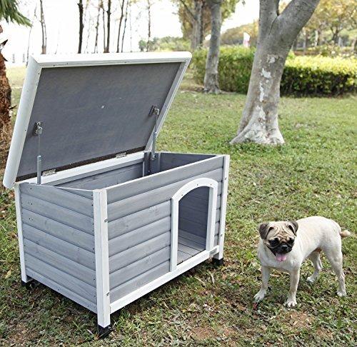Petsfit Hunde Holzhütte, Schutz im Freien, grau
